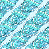 Doodle wavy repeating pattern. Blue waves vector tropical background. For textile or packaging design. Royalty Free Stock Photo