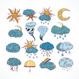 Doodle weather forecast design elements Royalty Free Stock Photo
