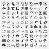 Doodle weather icons set Royalty Free Stock Images