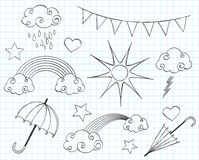 Doodle weather set. Black & white doodle weather set stock illustration
