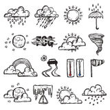 Doodle Weather Set Stock Images