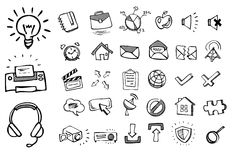 Doodle web icons. Doodle hand drawn web icons Stock Photos