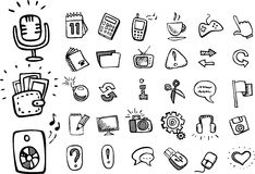 Doodle web icons Royalty Free Stock Image