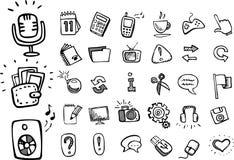 Doodle web icons. Doodle hand drawn web icons Royalty Free Stock Image