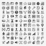 100 Doodle Web Icons. Cartoon vector illustration royalty free illustration