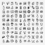 100 doodle web icons set. Cartoon vector illustration vector illustration