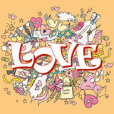 Doodle wedding background, word LOVE. Royalty Free Stock Photos