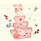 Doodle Wedding Cake. Illustration of wedding cake in doodle style with different object Royalty Free Stock Photography