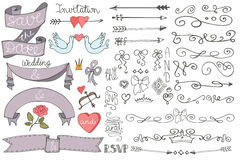 Doodle Wedding ribbons, swirl borders,decor set Royalty Free Stock Photography