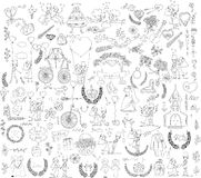 Doodle wedding set for invitation cards,vector Royalty Free Stock Photography