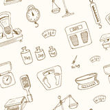 Doodle weighing machine seamless pattern vector Stock Photography