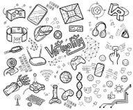 Doodle wektorową kolekcję rzeczywistość wirtualna i nowatorski techn Zdjęcie Stock