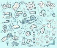Doodle wektorową kolekcję rzeczywistość wirtualna i nowatorski techn Fotografia Royalty Free