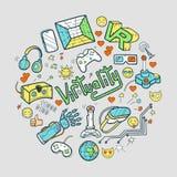 Doodle wektorową round ilustrację z rzeczywistością wirtualną i innova Zdjęcia Stock