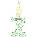 Doodle wektorowa abstrakcjonistyczna świeczka na stojaku Zdjęcia Royalty Free