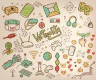 Doodle wektorowa kolekcja rzeczywistość wirtualna, nowatorski i Obrazy Stock