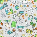 Doodle wektorowego bezszwowego wzór z rzeczywistością wirtualną i innovati Zdjęcie Stock