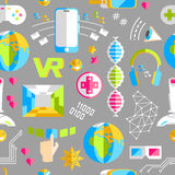 Doodle wektorowego bezszwowego wzór z rzeczywistością wirtualną i innovati Obrazy Stock