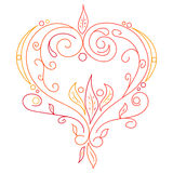 Doodle wektorowy abstrakcjonistyczny serce z wierzbą Zdjęcia Stock