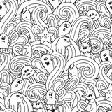 Doodle wektorowy bezszwowy wzór z potworami Śmieszni potworów graffiti może używać dla tło, koszulki Zdjęcia Stock
