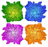 Doodle wektoru kształty w różnych kolorach: zieleń, błękit, purpura, kolor żółty barwi Obraz Royalty Free