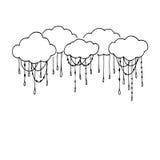 Doodle wektoru ręki Rysować chmury Ilustracji