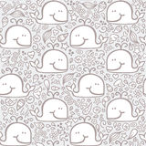 Doodle whales pattern . Royalty Free Stock Image