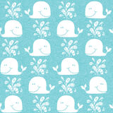 Doodle whales pattern . Royalty Free Stock Photo