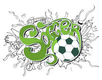 Doodle white soccer composition with sport objects and green lettering Royalty Free Stock Photos