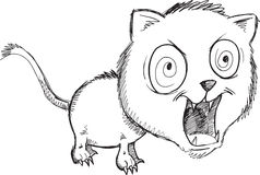 Doodle Wild Cat Vector Royalty Free Stock Image