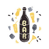 Doodle wine bottle illustration in vector. Hand Stock Photography