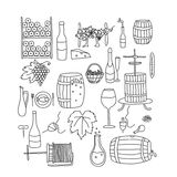 Doodle wine line Royalty Free Stock Images