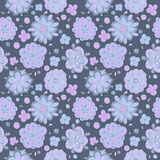Doodle winter flowers seamless pattern Royalty Free Stock Images