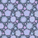 Doodle winter flowers seamless pattern. Blue doodle flowers seamless pattern Royalty Free Stock Images