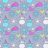Doodle winter pattern Royalty Free Stock Photography