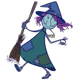 Doodle witch. Funny doodle witch, vector illustration vector illustration