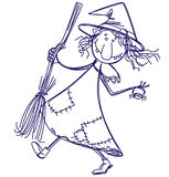Doodle witch Stock Images
