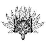 Doodle Wolf Mask. With decorative pattern and feathers vector illustration Stock Photos