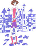 Doodle woman in front of a blue castle Royalty Free Stock Photography