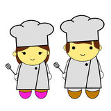 Doodle woman and man - chef Stock Photography