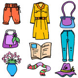 Doodle of women clothe style object. Design vector art Royalty Free Stock Photos