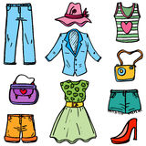 Doodle of women collection cartoon Stock Image
