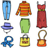 Doodle of women style collection stock Stock Images