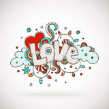 Doodle word LOVE with snowflakes, light bulbs, clouds and heart. Royalty Free Stock Images