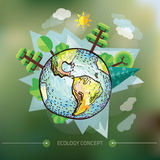 Doodle World Drawing, vector illustration of nature with tree around Earth Royalty Free Stock Images