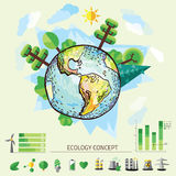 Doodle World Drawing, vector illustration of nature with tree around Earth Stock Photography