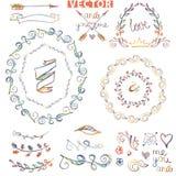 Doodle wreath ,floral decor.Colored watercolor,crayon sketched Stock Photos