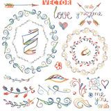 Doodle wreath ,floral decor.Ñolored watercolor, Stock Images