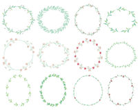 Doodle Wreaths with Branches, Herbs, Plants and Flowers. Set of 12 Colorful Doodle Hand Drawn Decorative Wreaths with Branches, Herbs, Plants, Leaves and Flowers stock illustration