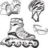doodle wyposażenia rolkowy łyżwiarski syle Zdjęcia Stock